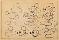 Mickey Mouse Animator's Practice Model Sheet Original Art (Walt Disney, c. 1930s)