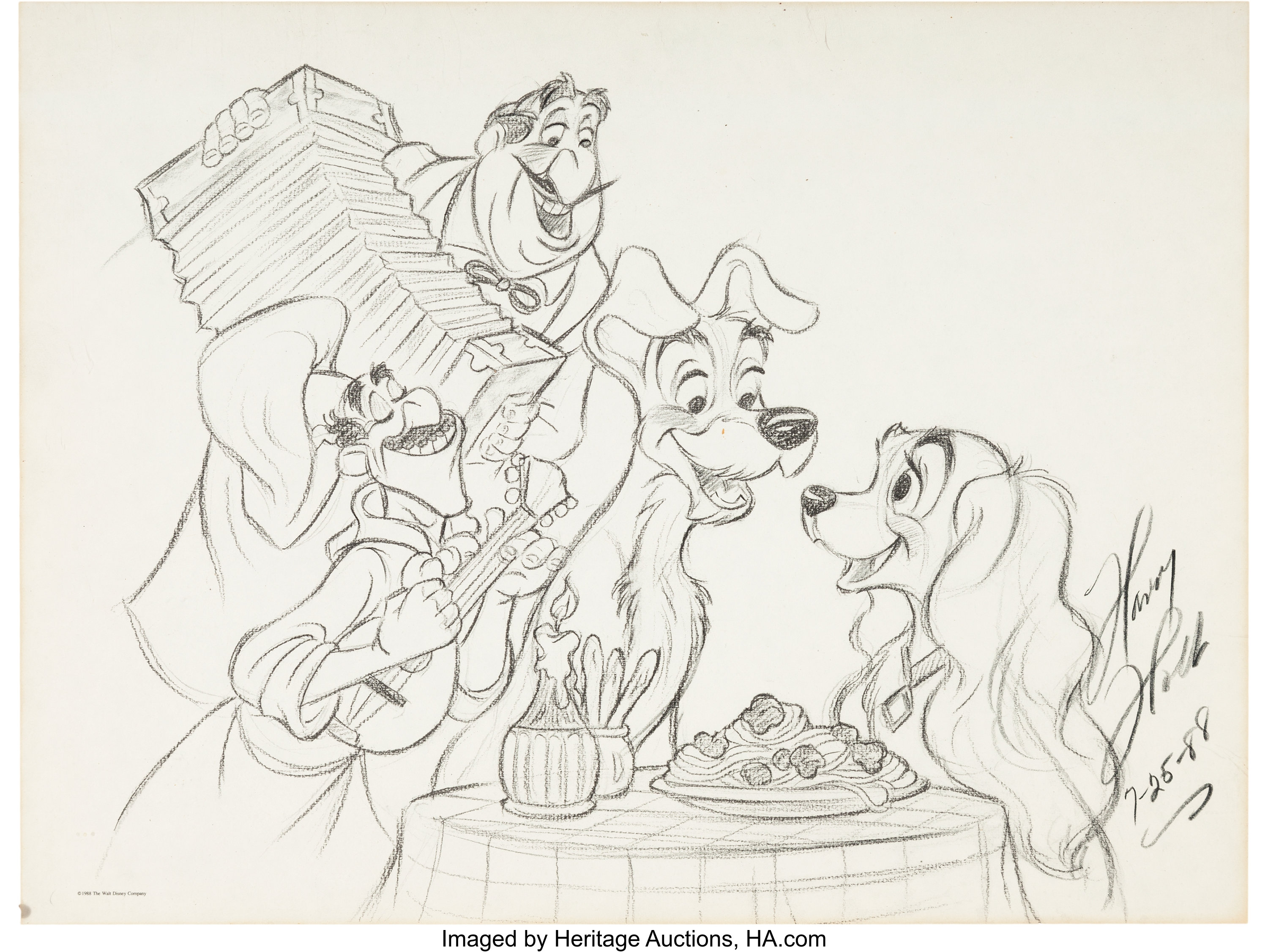 Lady And The Tramp Artwork By Harry Holt Walt Disney 1988 Lot 99590 Heritage Auctions