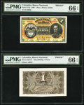 Colombia Banco Nacional de la Republica de Colombia 1 Peso 1.3.1888 Pick 214p; Unlisted Front and Back Proofs PMG Gem Un...