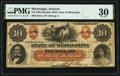 Jackson, MS- State of Mississippi $10 Feb. 21, 1862 Cr. 4Ac PMG Very Fine 30