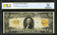 Fr. 1187 $20 1922 Gold Certificate PCGS Banknote Very Fine 30