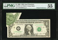 Printed Fold Error Fr. 1913-L $1 1985 Federal Reserve Note. PMG About Uncirculated 55