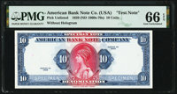 """American Bank Note Company """"Test Note"""" 10 Unit 1929 (ca. 1960s-70s) PMG Gem Uncirculated 66 EPQ"""
