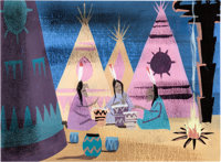 Mary Blair Peter Pan Indian Village Concept/Color Key Painting (Walt Disney, 1953)
