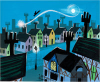 Mary Blair Peter Pan Darling Home Concept/Color Key Painting (Walt Disney, 1953)