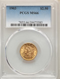 Liberty Quarter Eagles: , 1903 $2 1/2 MS66 PCGS. PCGS Population: (335/85). NGC Census: (300/93). CDN: $900 Whsle. Bid for NGC/PCGS MS66. Mintage 201...