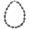 Estate Jewelry:Necklaces, Freshwater Cultured Pearl, Diamond, Silver Necklace. ...