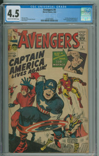 The Avengers #4 (Marvel, 1964) CGC VG+ 4.5 Cream to off-white pages