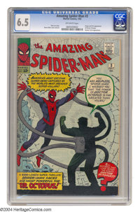 The Amazing Spider-Man #3 (Marvel, 1963) CGC FN+ 6.5 Off-white pages. Origin and first appearance of Doctor Octopus. Fir...