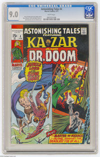 Astonishing Tales #4 (Marvel, 1971) CGC VF/NM 9.0 White pages. John Buscema cover. Barry Smith and Wally Wood art. Overs...