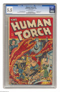 Golden Age (1938-1955):Superhero, The Human Torch #19 (Timely, 1945) CGC FN- 5.5 Off-white to white pages. Bondage cover by Alex Schomburg. The Sub-Mariner ap...
