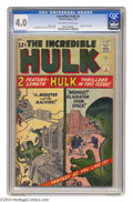 Silver Age (1956-1969):Superhero, The Incredible Hulk #4 (Marvel, 1962) CGC VG 4.0 Off-white to white pages. Two feature-length stories, brief origin retold. ...
