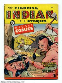 "Midget Comics #1 (St. John, 1950) Condition: FN. ""Fighting Indian Stories."" Matt Baker cover. Overstreet 2004..."