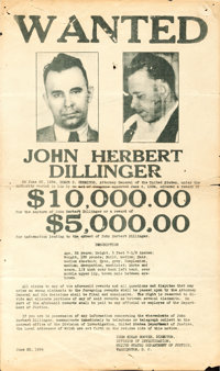 """Wanted: John Herbert Dillinger (Department of Justice, 1934). Folded, Very Good/Fine. Wanted Poster (8"""" X 13.5""""..."""
