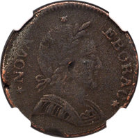 1787 COPPER Nova Eborac Copper, Small Head, Seated Left -- Corrosion -- NGC Details. VF. Breen-988, W-5765, High R.6...