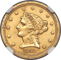 1841-C $2 1/2 -- Cleaned -- NGC Details. Unc. Variety 1....(PCGS# 7721)