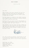 Memorabilia:Print, Walt Disney-Signed Letter to Staff Sgt. Don Lusk (1943)....