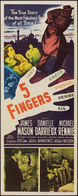 "5 Fingers & Other Lot (20th Century Fox, 1952). Folded, Fine/Very Fine. Inserts (2) (14"" X 36""). Thriller..."
