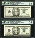 Fr. 2086-L* $20 1999 Federal Reserve Notes. Two Examples. PMG Graded About Uncirculated 55; About Uncirculated 55 EPQ...