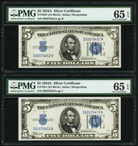 Fr. 1651 $5 1934A Silver Certificates. Two Consecutive Examples. PMG Gem Uncirculated 65 EPQ. ... (Total: 2 notes)