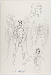 George Perez - Azrael Character Design Preliminary Illustration Original Art (c. 1985)