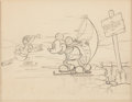 Animation Art:Production Drawing, On Ice Mickey Mouse and Donald Duck Layout/Storyboard Drawing (Walt Disney, 1935)....