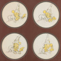 """Animation Art:Production Drawing, Fantasia """"Sorcerer's Apprentice"""" Animation Drawings Group of 4 (Walt Disney, 1940)...."""