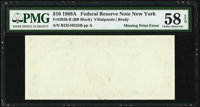 Missing Back Printing Error Fr. 2028-B $10 1988A Federal Reserve Note. PMG Choice About Unc 58 EPQ