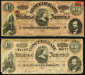 Confederate Notes:1864 Issues, T65 $100 1864 PF-1 Cr. 490 Fine;. T65 $100 1864 PF-2 Cr. 493 Fine.. ... (Total: 2 notes)