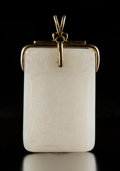 Carvings, A Chinese White Jade and 14K Gold Plaque, Qing Dynasty, 18th-19th century. Marks to hardware: 14K, 585. 3-1/8 x 1-3/4 x ...