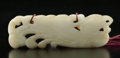 Carvings, A Chinese White Jade Phoenix-Form Pendant, Ming Dynasty or earlier. 1-1/8 x 3-1/8 x 0-5/8 inches (2.9 x 7.9 x 1.6 cm). ...