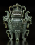 Carvings, A Chinese Deep Celadon Jade Covered Vase. 6-5/8 x 5-5/8 x 2-1/8 inches (16.8 x 14.3 x 5.4 cm). ...