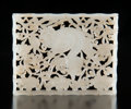 Carvings, A Chinese Carved White Jade Belt Plaque, Ming Dynasty. 2-3/4 x 2-1/8 inches (7.0 x 5.4 cm). ...
