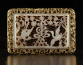 Carvings, A Chinese Reticulated White Jade Plaque in Gilt Bronze Buckle, Ming Dynasty. 1-7/8 x 2-3/4 x 3/4 inches (4.8 x 7.0 x 1.9 cm)...