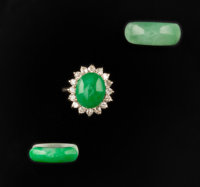 A Chinese Jade, Diamond, and 14K White Gold Ring with Two Additional Jade Rings 2-3/4 x 2-1/8 x 2-1/4 inches (6.9