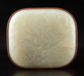 Carvings, A Wood Box with Jade Inset Cover. 3-7/8 x 5-1/4 x 4-5/8 inches (9.8 x 13.3 x 11.7 cm). ...