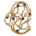Estate Jewelry:Brooches - Pins, Sapphire, Cultured Pearl, Gold Brooch . ...