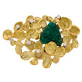 Estate Jewelry:Brooches - Pins, Diamond, Synthetic Emerald, Gold Brooch, Thielle . ...