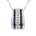 Estate Jewelry:Necklaces, Diamond, Sapphire, White Gold Pendant-Necklace. ...