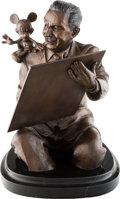 "Animation Art:Maquette, ""Walt Draws Mickey"" Limited Edition Bronze Statue #36/1000 (Walt Disney, c. 1990s)...."