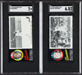 Baseball Cards:Lots, 1971 Topps Greatest Moments Bob Gibson & Carl Yastrzemski SGC Graded Pair (2).... (Total: 2 items)