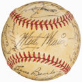 Autographs:Baseballs, 1952 St. Louis Browns Signed Baseball, With Satchel Paige Signature....