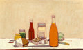 Paintings, Wayne Thiebaud (b. 1920). Orange Drink, 1961. Oil on canvas. 22 x 36 inches (55.9 x 91.4 cm). Signed upper right: Thie...