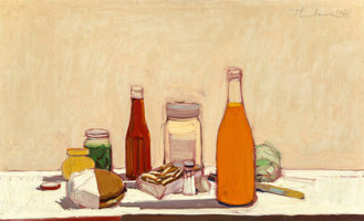 Featured item image of Wayne Thiebaud (b. 1920)  Orange Drink, 1961  Oil on canvas  22 x 36 inches (55.9 x 91.4 cm)  Signed upper right: Thie...