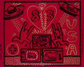 Paintings, Keith Haring (1958-1990). Untitled, 1983. Acrylic and gold paint marker on red Plexiglass. 32 x 40 inches (81.3 x 101.6 ...