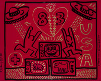 Keith Haring (1958-1990) Untitled, 1983 Acrylic and gold paint marker on red Plexiglass 32 x 40 i