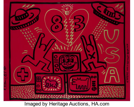 Keith Haring (1958-1990) Untitled, 1983 Acrylic and gold paint marker on red Plexiglass 32 x 40 inches (81.3 x 101.6 ...