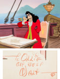 Animation Art:Production Cel, Peter Pan Captain Hook Production Cel and Key Master Background Signed by Walt Disney (Walt Disney, 1953).. ...
