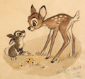 Animation Art:Concept Art, Bambi Bambi and Thumper Concept Sketch Signed by Milt Kahl (Walt Disney, 1942)....