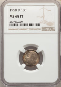 1958-D 10C MS68 Full Bands NGC. NGC Census: (15/0). PCGS Population: (3/0). Mintage 136,564,600. ...(PCGS# 85117)